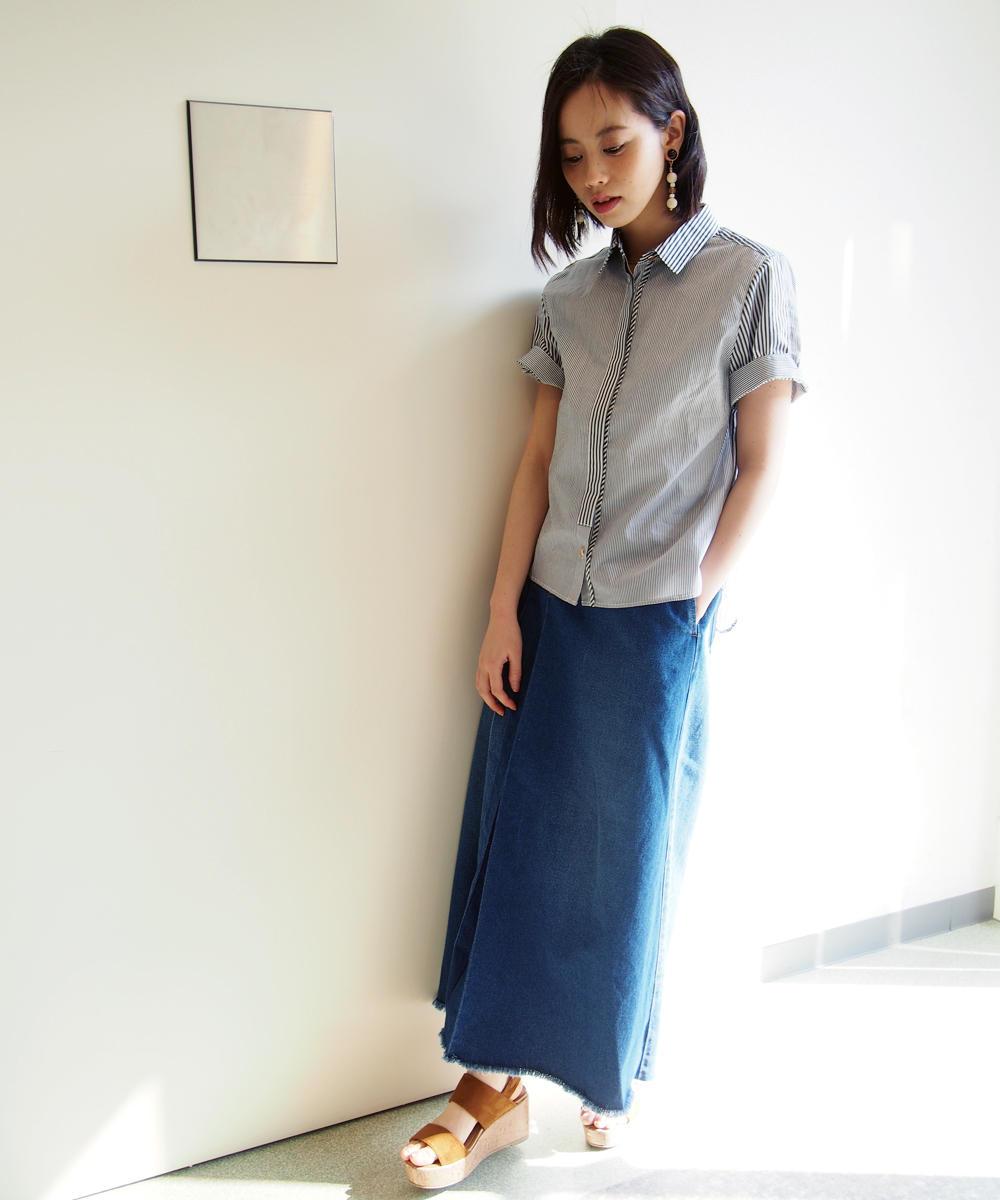 クレージー配色コンビ半袖シャツ【7263-8105】
