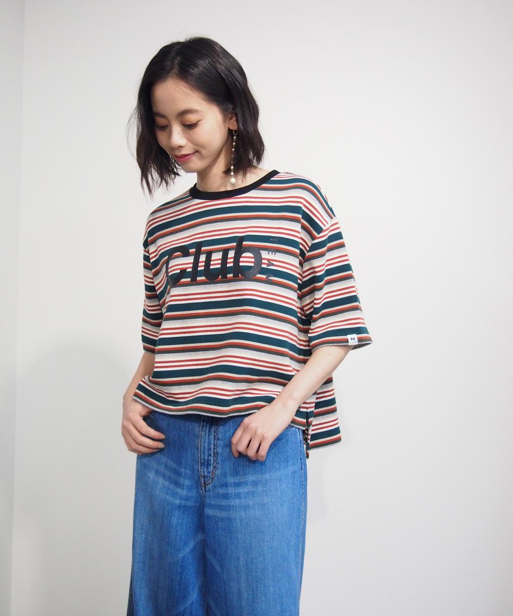 マルチボーダー柄ロゴTシャツ【8263-9004】
