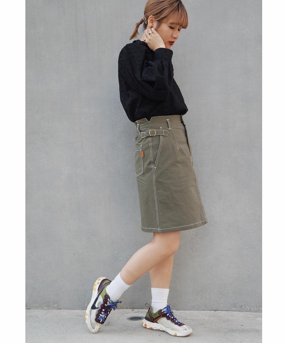 サイドベルト付き台形スカート【0163-0203】