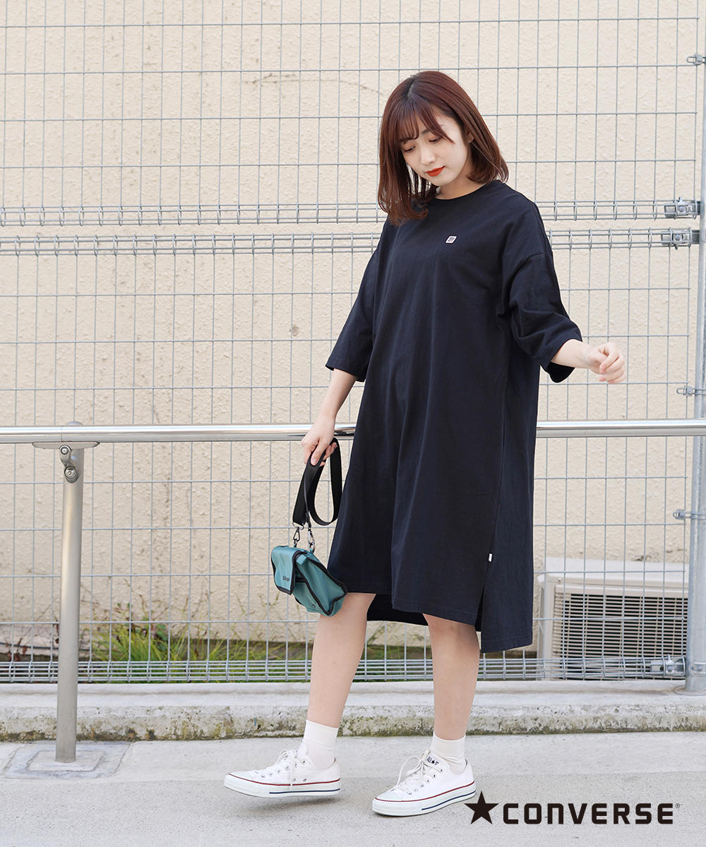 CONVERSEワッペンTシャツワンピース【0263-1300】