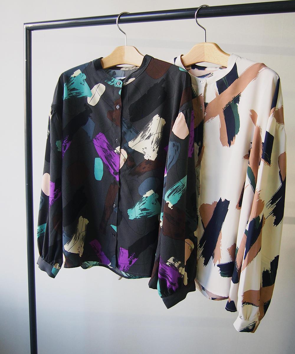 水彩プリントシャツ【0563-8024】