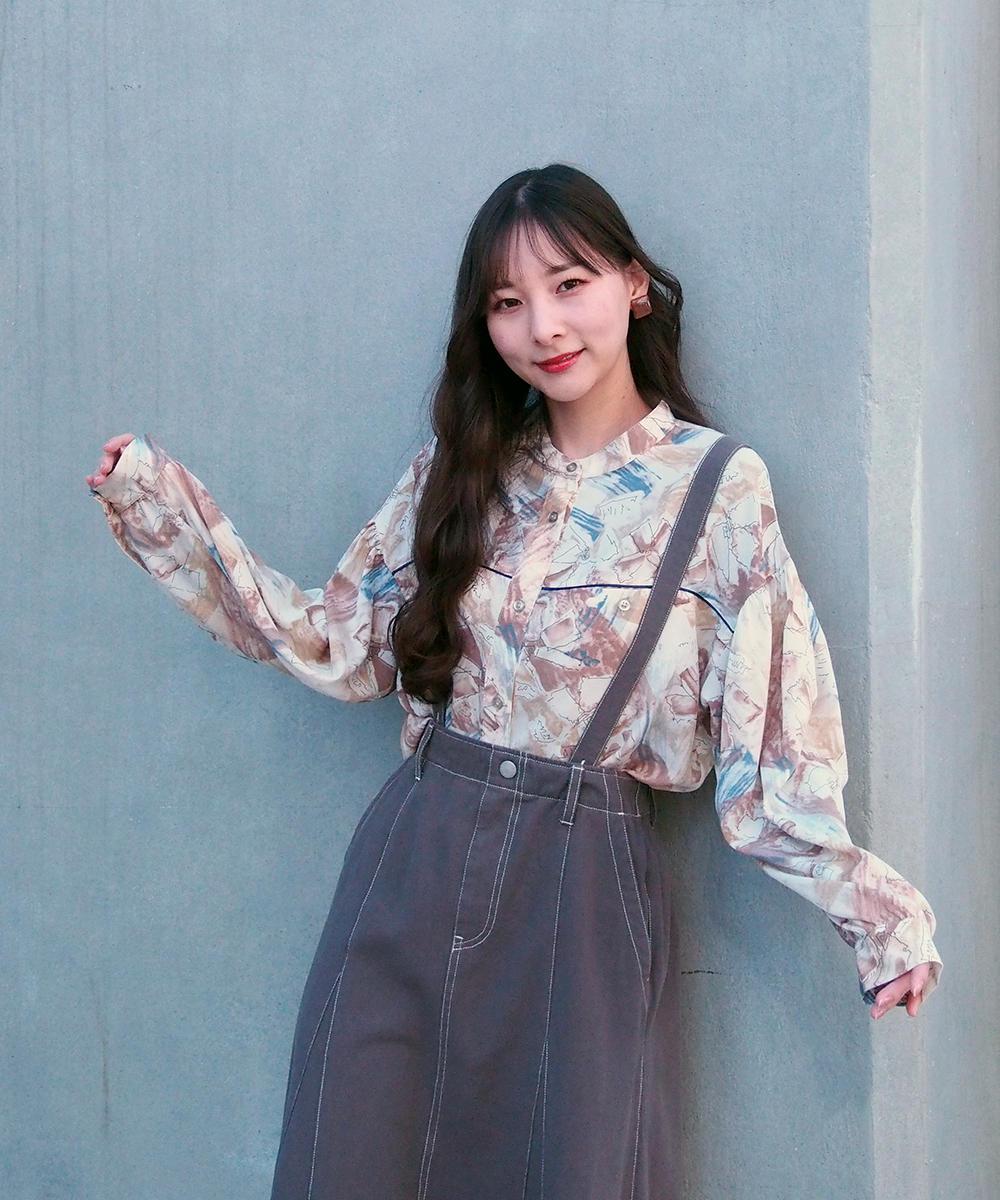 水彩風プリントシャツ【1163-8000】