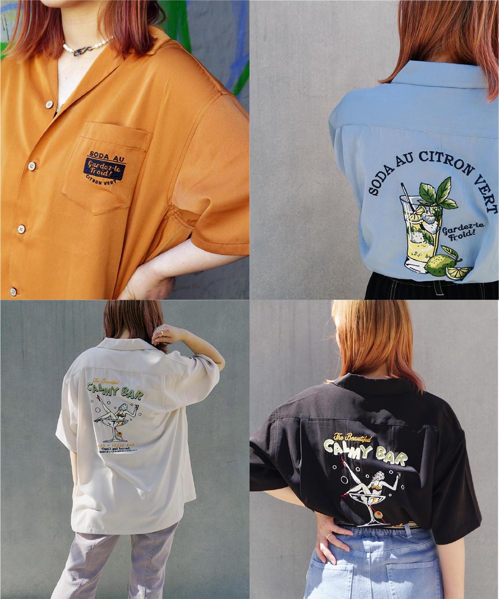 後ろ刺繍開襟シャツ