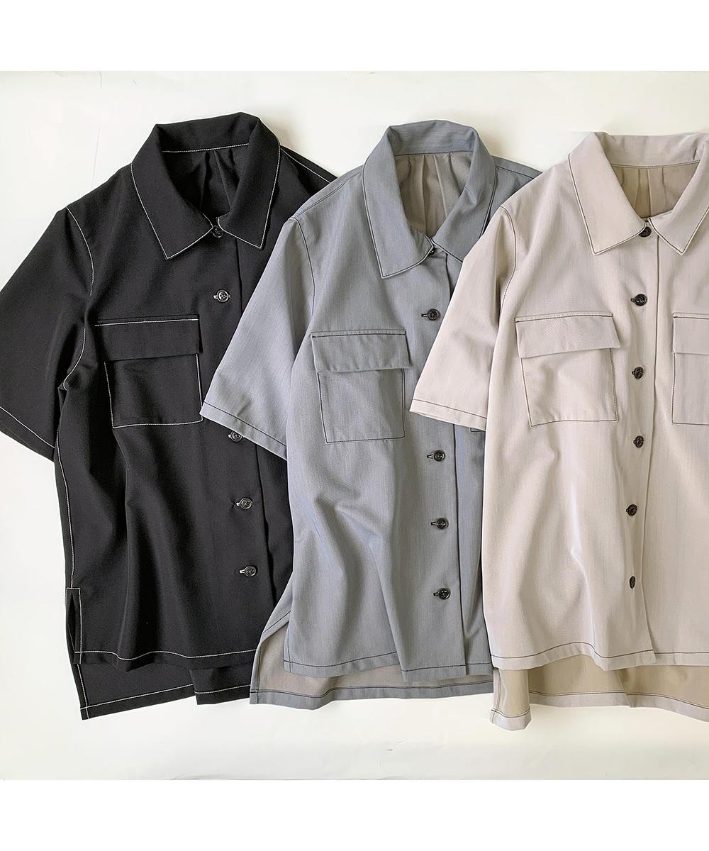 配色ステッチ半袖CPOシャツ