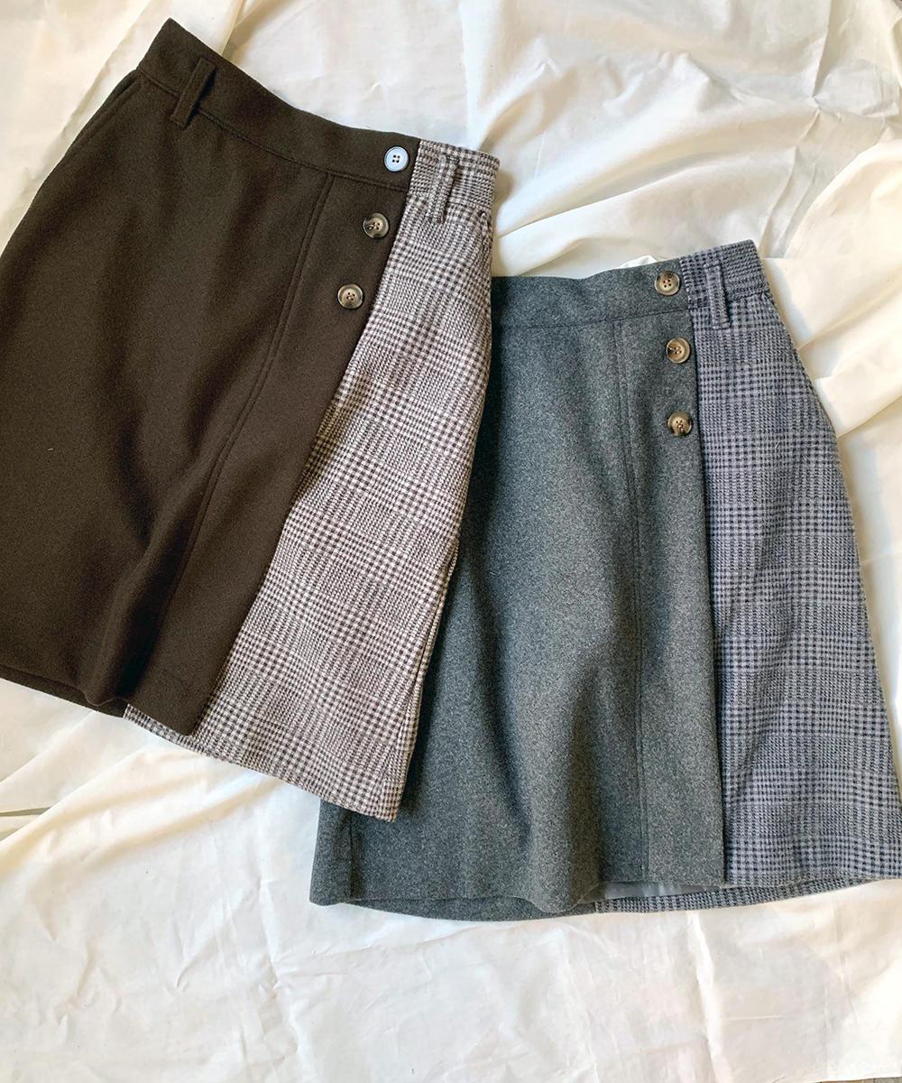 チェック切り替えAラインスカート【0563-0223】