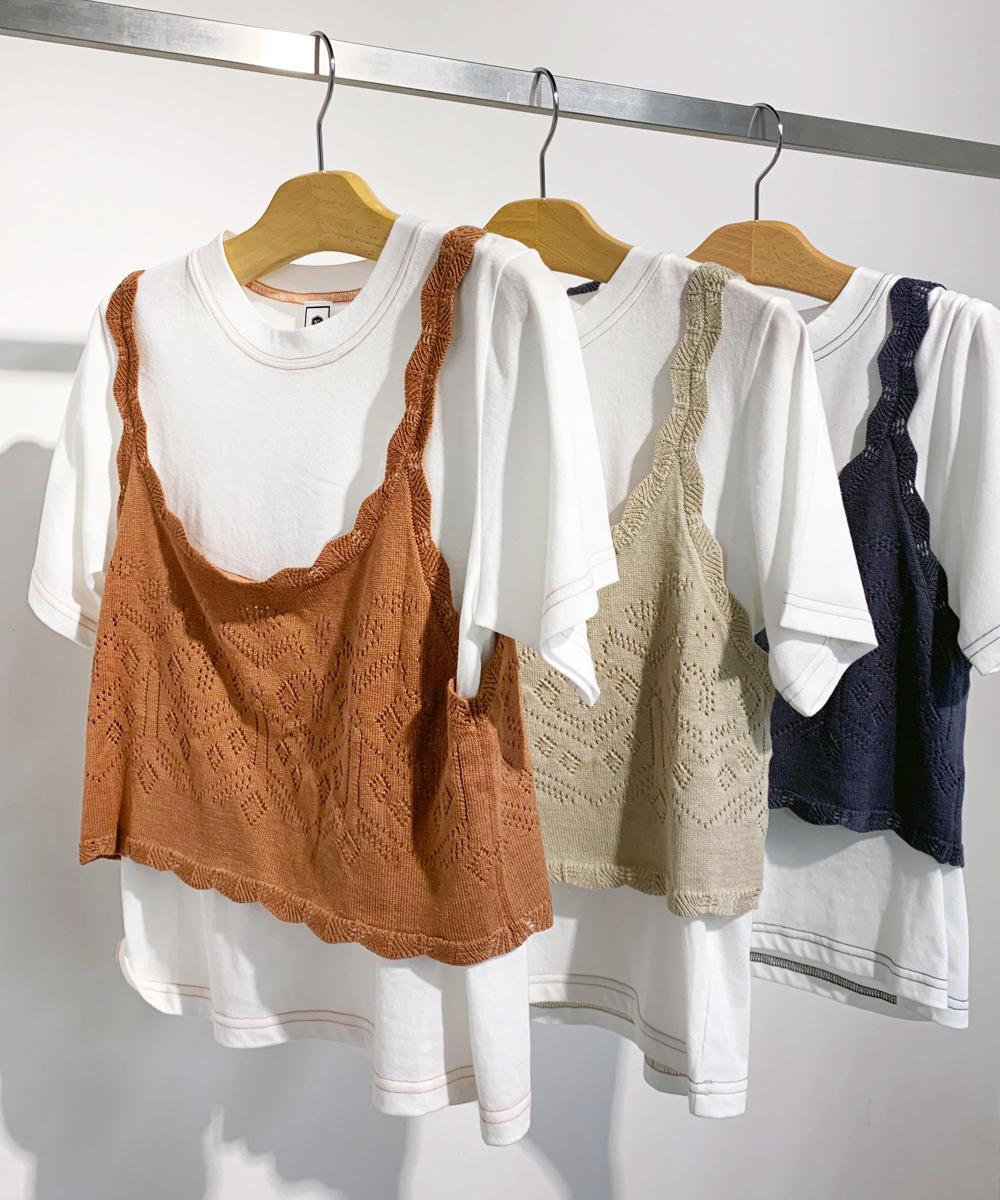 透かし編みニットビスチェ+Tシャツセット【9263-9602】